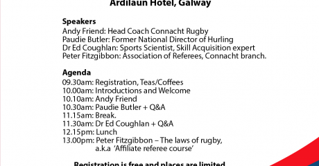Coaching Experts Conference to be hosted by Galway Bay Rugby Club
