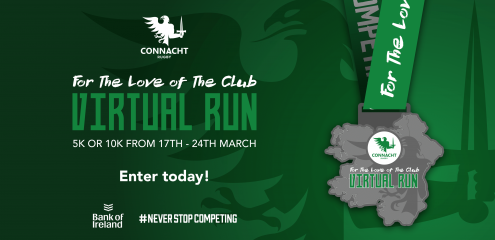 """The Virtual Run ""For the Love of the Club"" event has been a tremendous success for the Rugby club's in Connacht"" – For The Love of The Club Event Raises Over €30,000 for Connacht Clubs"
